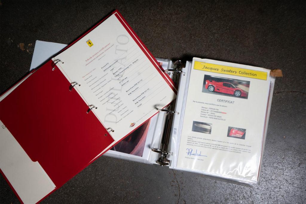Ferrari F50 Prototipo - Parte della documentazione - Immagine da Wordwide Auctioneers