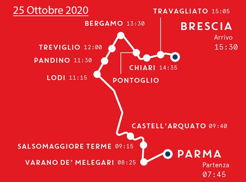 Mille Miglia - Mappa Quarta Tappa - 25 Ottobre 2020