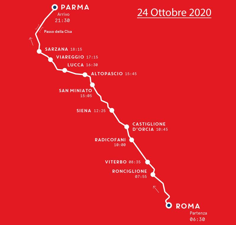 Mille Miglia - Mappa Terza Tappa - 24 Ottobre 2020
