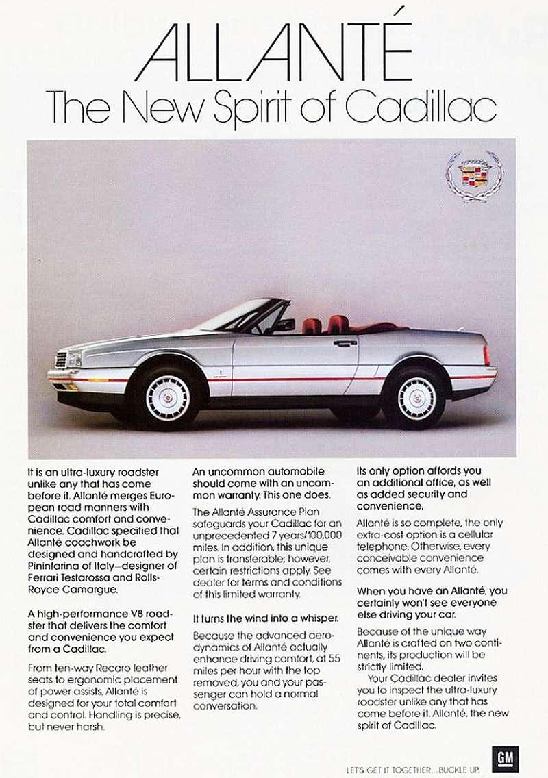 Pubblicità Cadillac Allanté 1987 - Immagine Classic Cars Today